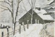 "Stephan Haley, ""Wintertide"", 15 x 15"", monoprint drawing,  $600.00"