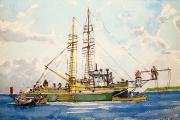 "William T. Hall, ""Block Island Trawlers Swordfishing, Late 1940's"", 14"" x 16"", $800.00"