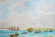 "William T Hall, ""Changes on the Horizon, Sail Gives Way to Steam Power"", 17 x 20"", $1,000.00"