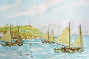"William T. Hall, ""Double Enders Leaving Southwest Cove, Block Island, 1800's"", 18 x 23"", $1,200.00"