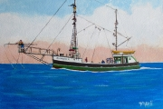 "William T. Hall, ""Dragger Swordfishing, 1950's"", 12 x 16"", $750.0"