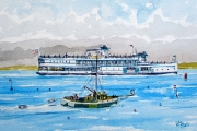 "William T. Hall, ""NELSECO II, Ferry Boat to Block Island, 1950's"", 11 x 14"", $800.00"