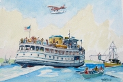 "William T. Hall, ""QUONSET Ferry, Leaving Old Harbor, 1959"", 11 x 14"", $750.00"