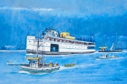 "William T. Hall, ""YANKEE Ferry Boat, Rainy Trip, 1950's"", 11 x 14"", $750.00"