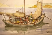 "William T. Hall, ""Hand-Lining, Old Harbor Point, 1860's"", 10 x 14"", $850.00"