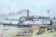 "William T Hall, ""ISLAND BELLE Ferry Boat, Leaving Old Harbor, 1920's"", 14 x 18"", $1,100.00"