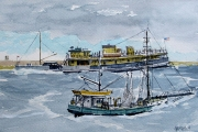 "William T Hall, ""SPRIGG CARROL Ferry Boat and OCEAN CLIPPER Dragger, 1940's"", 11 x 14"", $950.00"