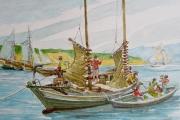 """William T Hall, """"Trawl Fishing off Clay Head, Block Island, 1860's"""", 11 x 14"""", $850.00"""