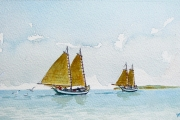 "William T Hall, ""Two Double Enders Headed Home, 1880's"", 10 x 14"", $550.00"