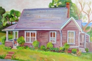 "Kate Knapp, ""Block Island Cottage,"" oil on canvas, 24 x 36"", $2100.00"