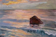 "Kate Knapp, ""Dories Cove Sunset,"" oil on canvas, 24 x 24, $1600.00"