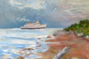 "Kate Knapp, ""Incoming Ferry, North Point,"" oil on canvas, 24 x 24"", $1600.00"