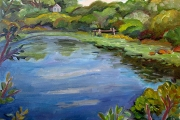 "Kate Knapp, ""Island Pond Autumn,""  oil on canvas, 24 x 24"",  $1600.00"