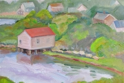 "Kate Knapp, ""Little Boat House Evening,"" oil on canvas,  11x14"",  $750.00"