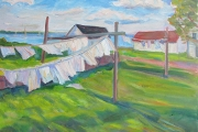 "Kate Knapp, ""Narragansett Laundry Line,"" oil on canvas, 16 x 20"" ,  $1000.00"