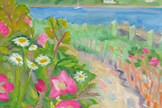 "Kate Knapp, ""Path to the Cut with Flowers,"" oil on canvas, 16 x 20"", $1000.00"
