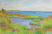"Kate Knapp, ""Spring House Pond and Wildflowers,""  oil on canvas, 20 x 30"", $1700.00"
