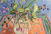 "Kate Knapp, ""Block Island Bouquet , Pam's Glass Pitcher with Blackberries"", 20 x 20"",  $1200.00"