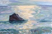 "Kate Knapp, ""Dories Rock, Bright Path of Sunlight"", 16 x 16"",  oil on canvas, $600.00"