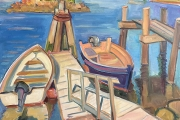"""Kate Knapp, """"The Inlet with Docks, Boats, and Egrets"""", 30 x 30"""", oil on canvas, $2500.00"""