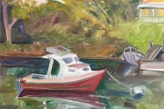 """Kate Knapp, """"Lobster Boat and Weather Station"""", 16 x 20"""", oil on canvas,  $850.00"""