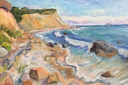 """Kate Knapp,  """"Mansion Beach Bluffs with Incoming Ferry"""",  24 x 30"""",oil on canvas,  $3000.00"""
