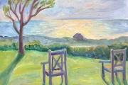 """Kate Knapp, """"Our Two Chairs at Sunset"""", 20 x 20"""",  oil on canvas,  $1000.00"""