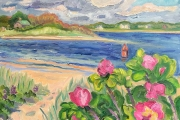 """Kate Knapp, """"The Cut With Roses and Buoy"""", 16 x 20"""",  oil on canvas, $850.00"""