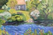 "Kate Knapp, ""Tiny Cottage on Cooneymus Pond"", 20 x 20"", oil on canvas,  $1000.00"