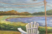 """Kate Knapp, """"View From the Springhouse with Chair"""", 24 x 30"""",  oil on canvas,  $1200.00"""