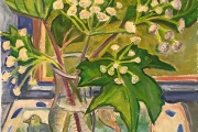 """Kate Knapp, """"White Flowers on the Porch With Bird Tiles"""", 20 x 24"""", oil on canvas, $950.00"""