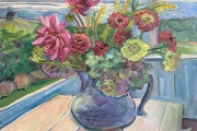 """Kate Knapp, """"Zinnias on the Porch with Red Knife"""",  24 x 24"""", oil on canvas,  $1200.00"""