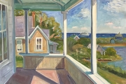 """Kate Knapp, Andrew's Porch, Afternoon, oil on canvas, 30 x 30"""", $3500.00"""