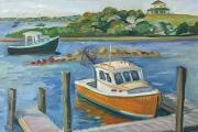"Kate Knapp, Behind The Fishworks, Orange Boat"", oil on canvas,  24 x 24"", $1600.00"