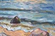 """Kate Knapp, Cooneymus Beach, Afternoon, oil on canvas, 24 x 24"""", $1600.00"""