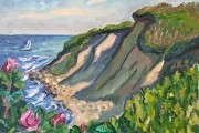 """Kate Knapp, East Side Bluffs With Roses, oil on canvas, 16 x 20"""",$1200.00"""