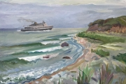 """Kate Knapp,  Incoming Ferry North Point, oil on canvas, 20 x 24"""", $1600.00"""