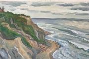 "Kate Knapp, Southeast Light Bluffs Silver Sky, oil on canvas, 15 x 30"", $1800.00"