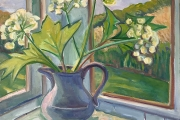 """Kate Knapp, Spring Flowers On Our Porch, oil on canvas, 24 x 24"""", $1600.00"""