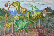 """Kate Knapp, Sunflowers in the Garden With Sailboat, oil on canvas, 20 x 30"""", $1800.00"""