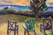 Kate Knapp, Sunset With Three Chairs, oil on canvas,  14 x 18, $900.00