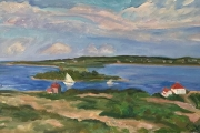 """Kate Knapp,  The Cut from Above, oil on canvas, 15 x 30"""", $1600.00"""