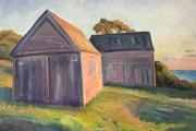"Kate Knapp, West Side Barns Sunset, oil on canvas,  24 x 30"", $2100.00"