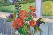 "Kate Knapp, Zinnias and House on Porch, oil on canvas, 16 x 20"", $950.00"
