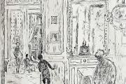 "Bernard Lamotte, ""The Family Gossips After Dinner"" etching, matted unframed, $350.00"