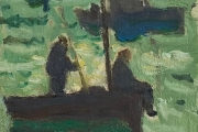 """Bernard Lamotte, """"Untitled- Two Figures On A Boat"""", oil on canvas on panel,  7.75 x 7"""",      $950.00"""