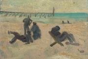 "Bernard Lamotte, ""Untitled - The Beach"", oil on canvas on panel,  11 x 8.75"",       $1300.00"