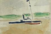 "Bernard Lamotte, ""Untitled- Sailboat"", watercolor and graphite, 5.25 x 4.25"",      $600.00"