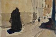 "Bernard Lamotte, ""Untitled - Street Scene I"", watercolor and graphite,  8.5 x 6.75"",      $900.00"