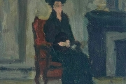 """Bernard Lamotte, """"Untitled - Woman In Black In A Red Chair"""", oil on canvas on  panel, 6.75 x 7""""         $700.00"""